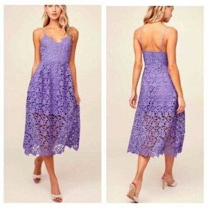 ASTR The Label Lace Midi Dress Purple XS NEW
